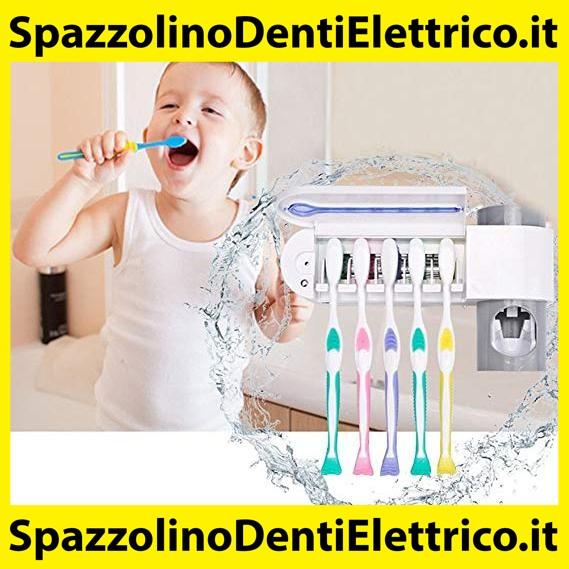 Bambini ONEVER Porta Spazzolino da Denti Sterilizzatore per Spazzolini Staffa di Stoccaggio Spazzolino Automatico a Parete Antibatterico UV per Bagno